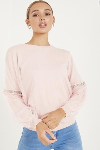 Pink Diamante Knitted Mesh Sleeve Jumper